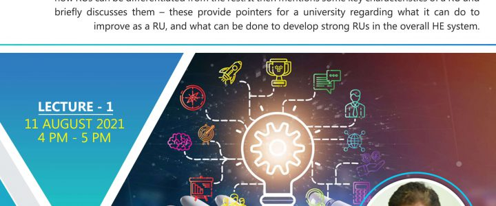 DST – CPR, IISc Policy Lecture Series-Building Research Universities